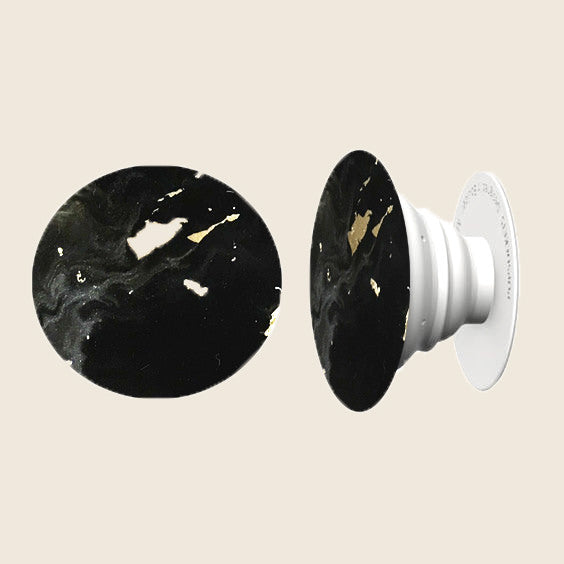 Black Marble Gold Dust Hand Painted Phone Grip