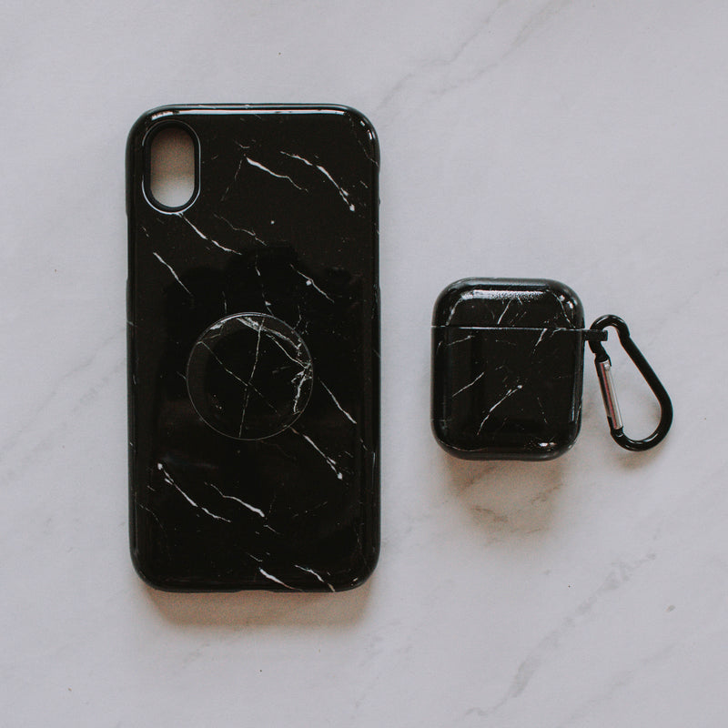 Black Marble Phone Case + Grip + Airpod Case
