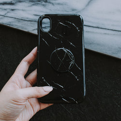Black Marble Phone Case + Phone Grip