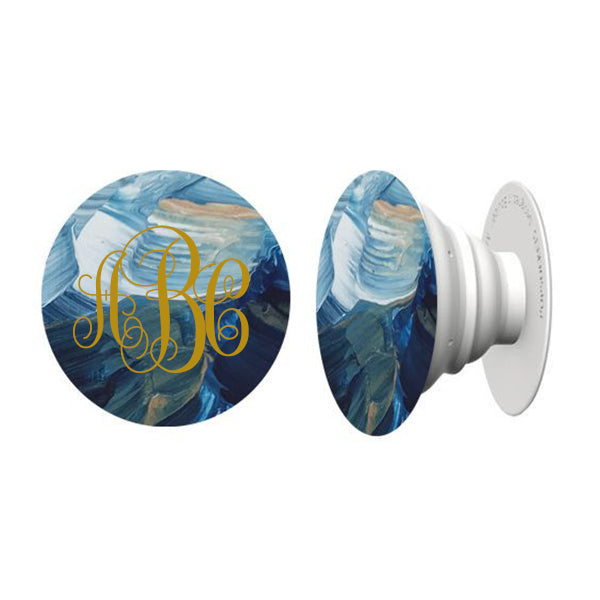 Brushed Waves Hand Painted Phone Grip - Janet Gwen Designs