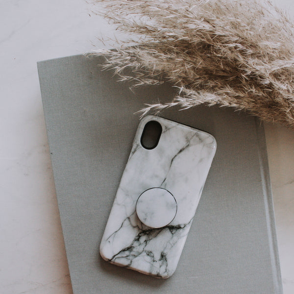 White Marble Phone Case + Phone Grip
