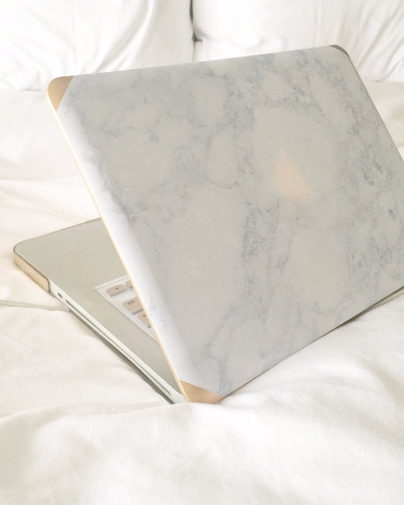 Gold or Silver Grey Marble Macbook Case - Janet Gwen Designs