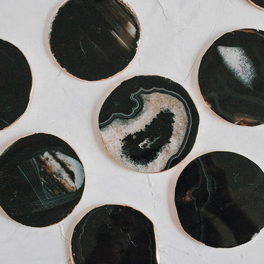 Black Gold Trimmed Agate Coaster - Janet Gwen Designs