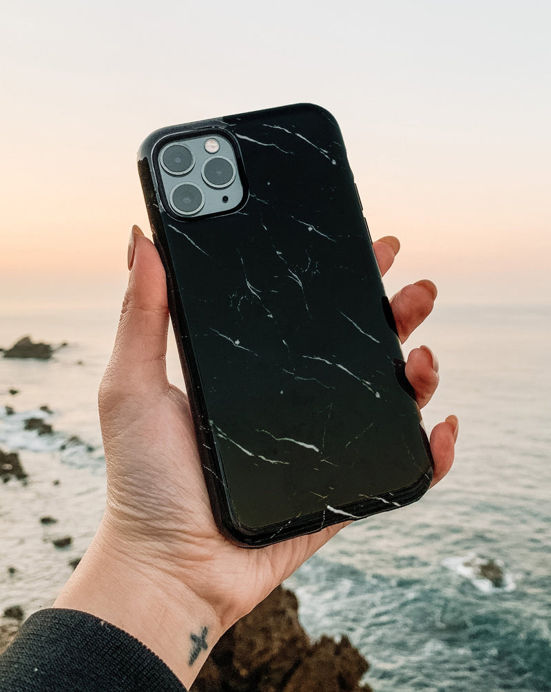 Black Marble Phone Case Double Layer