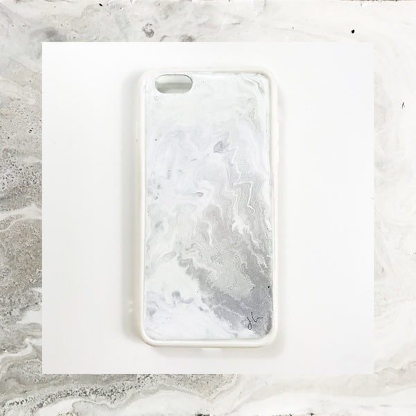 Classic Grey Marble Hand Painted Phone Case - Janet Gwen Designs