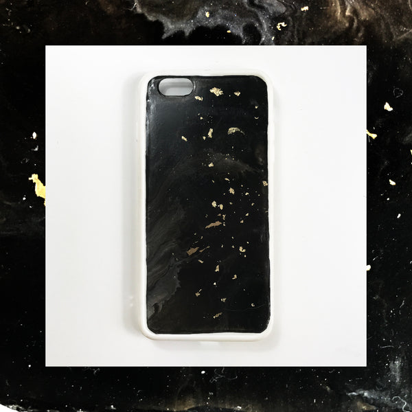 Black Marble Gold Dust Hand Painted Phone Case - Janet Gwen Designs