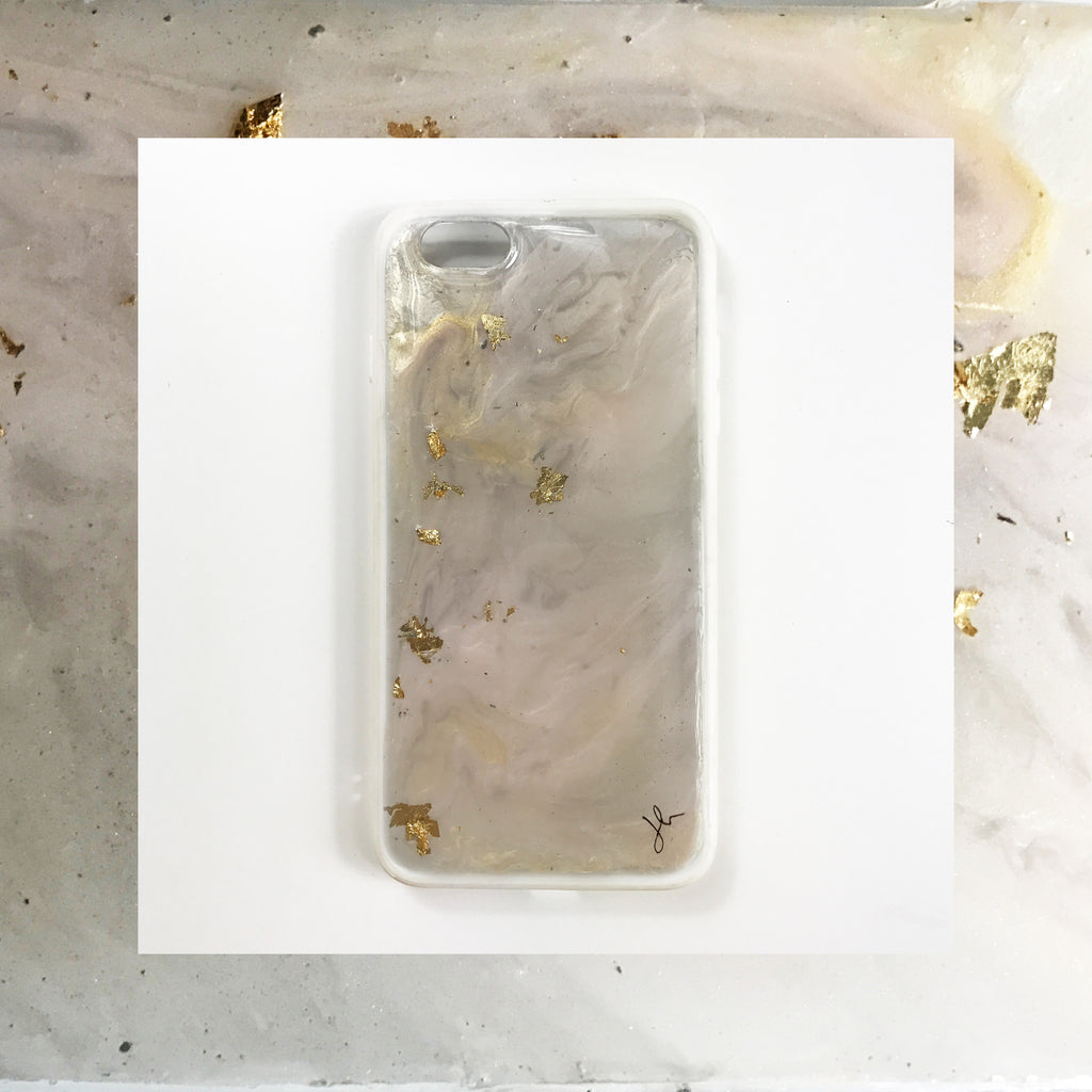 Gold Flakes Marble Hand Painted Phone Case