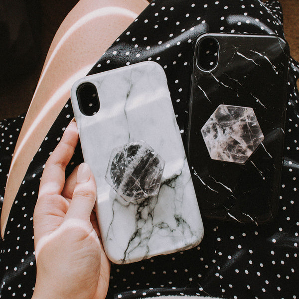 Rose Quartz Black Phone Grip