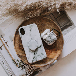 White Marble Phone Case + Grip + Airpod Case