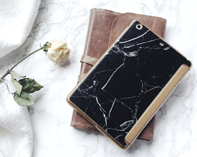 Black Marble and Gold iPad Case