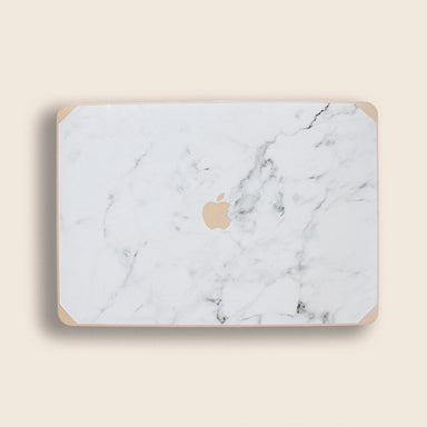 Silk Leather Gold and Logo Grey Marble Macbook Case