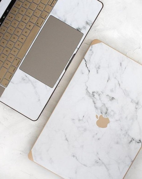 Gold and Logo Marble Grey Laptop Case