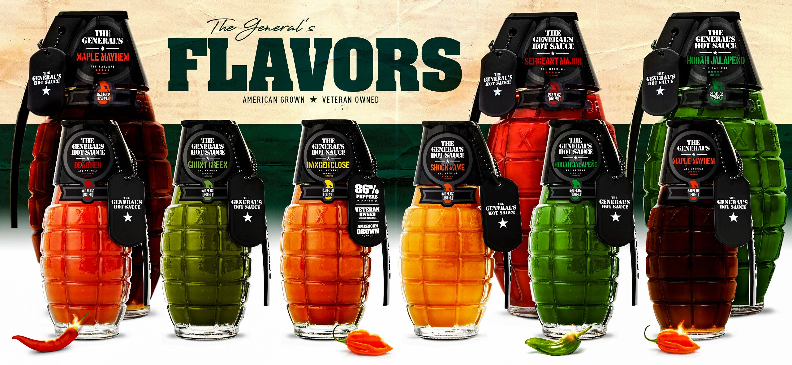 The General's Hot Sauce Family Of Flavors