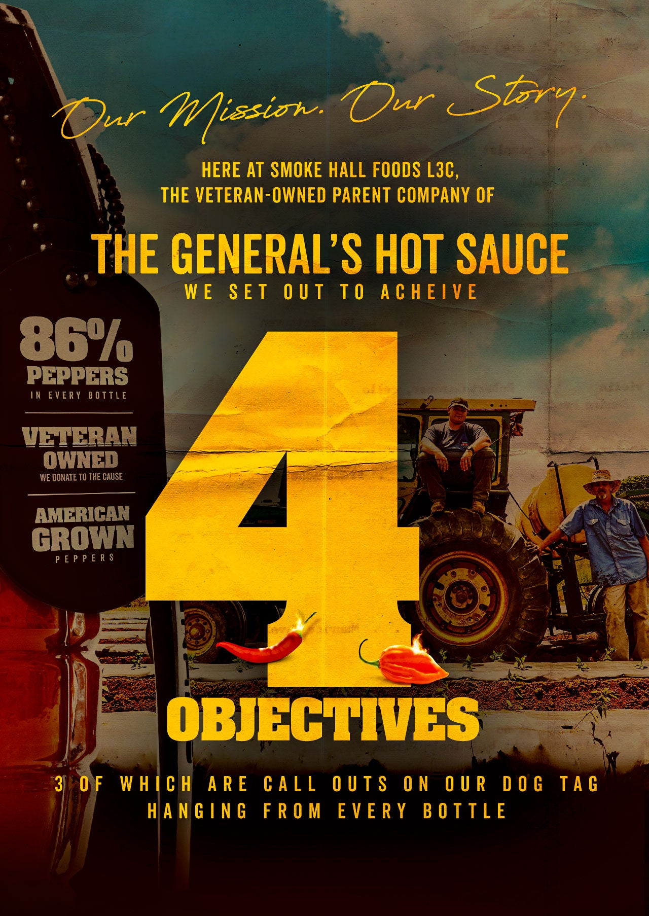 The General's Hot Sauce set out to acheive 4 objectives, 3 of which are call outs on our dog tag hanging from every bottle