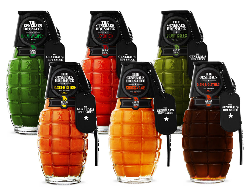 The Super 6 - One Bottle each of Marine Green, HOOAH Jalapeño, Dead Red, Danger Close, Shock & Awe and Maple Mayhem