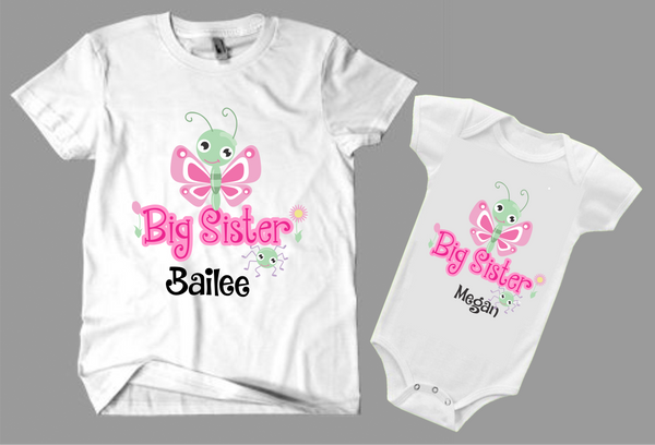 Big sister, little sister cute butterfly design shirts set -Kid's Clothing