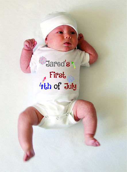 First fourth of July- Patriotic baby infant one piece - bodysuit short sleeves- 4th of July Onesie-personalized snapsuit.