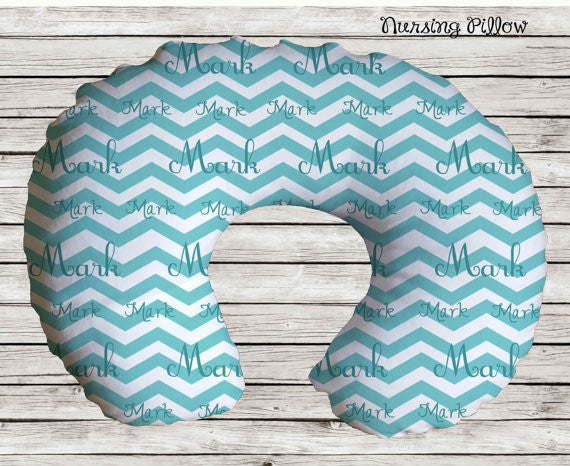 Personalized Chevron Nursing Pillow Cover ...