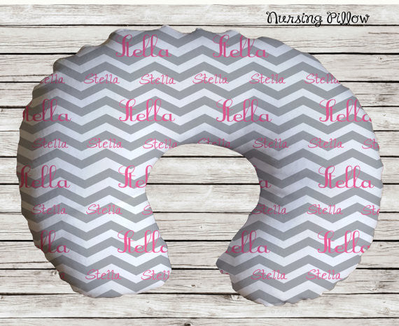 Chevron Personalized Nursing Pillow Cover- Nursing/ Baby