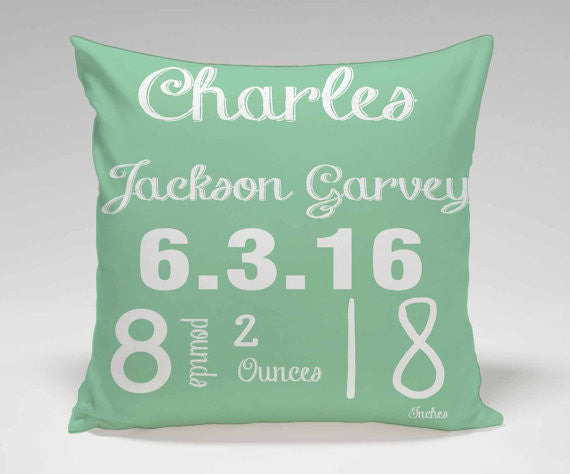 Personalized Baby Birth Announcement Pillow ...