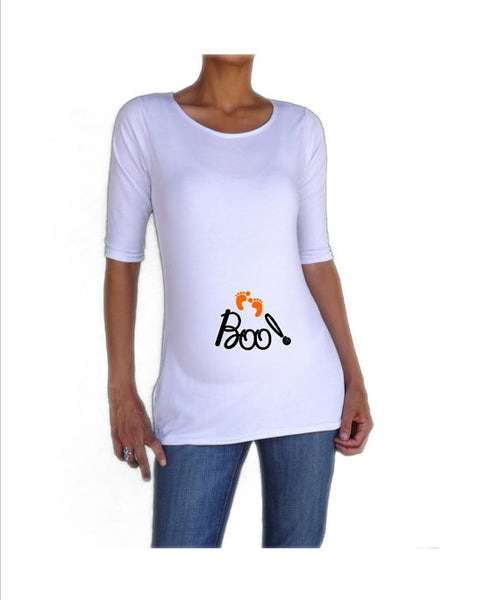 "Halloween ""BOO"" Maternity Shirt- Holiday Wear"