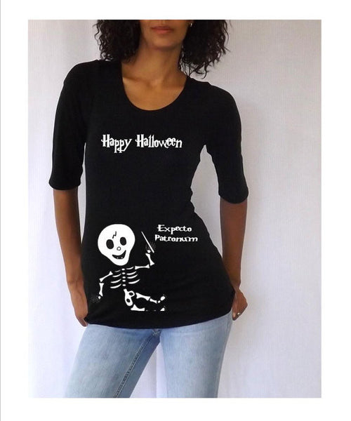 Baby Skeleton Halloween maternity costume tee/shirt- Pregnancy clothes