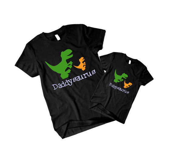 """Daddysaurus""and ""Babysaurus"" Dad and Baby shirts set- 2 shirts"