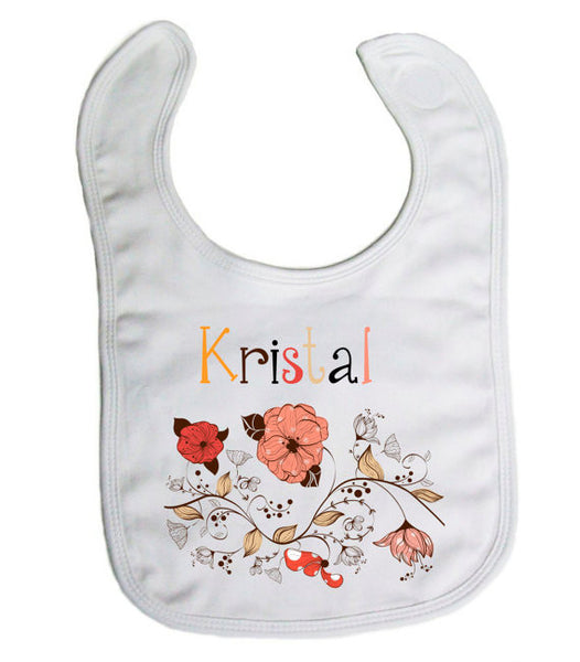 "Personalized ""Floral"" Baby Bib- Nursing/ Baby"