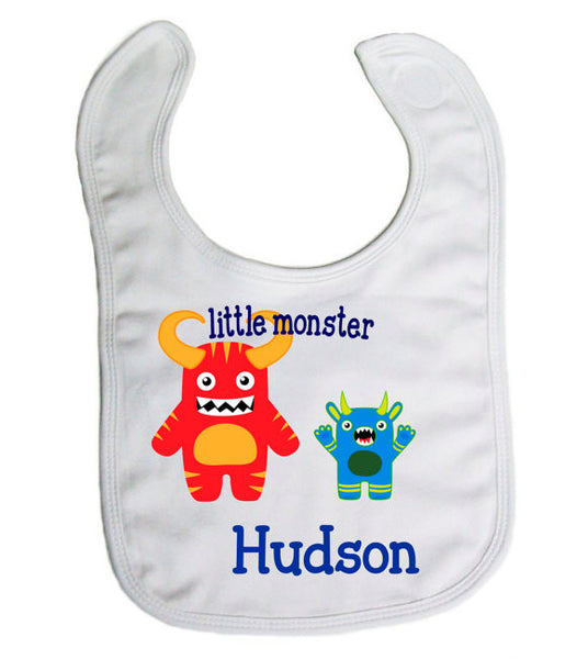 "Personalized ""Little Monster"" Baby Bib- Nursing/ Baby"
