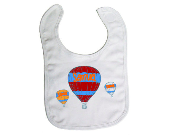 "Personalized ""Hot Air Balloons"" Baby Bib- Nursing/ Baby"