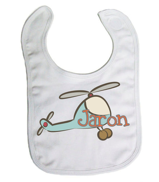 "Personalized ""Helicopter"" Baby Bib- Nursing/ Baby"