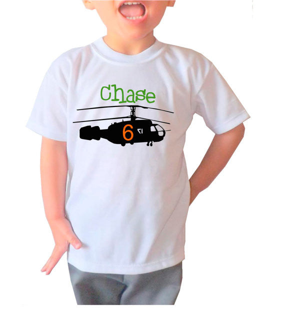 Personalized Kid's Helicopter Shirt  Kid's...