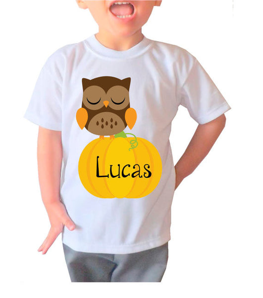 "Holiday Personalized ""Owl on a Pumpkin"" Shirt- Kid's Clothing"