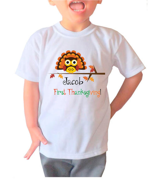 "Holiday Personalized ""First Thanksgiving"" Shirt- Kid's Clothing"