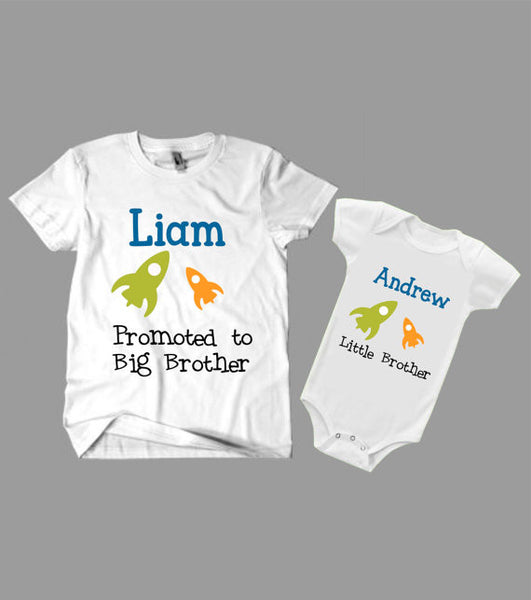 "Shirt and onesie Set ""Big Brother"" and ""Little Brother"" T-Shirts -Kid's Clothing"
