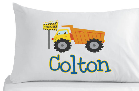 Personalized Construction Truck Pillowcase -Bedroom Decor