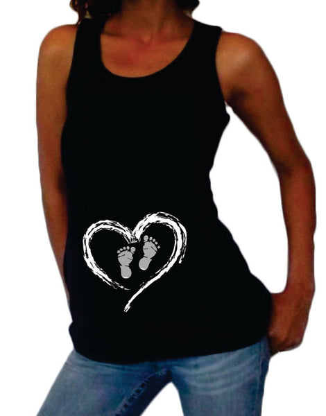 "Maternity ""Heart and Footprints"" Tank top - Pregnancy clothes"