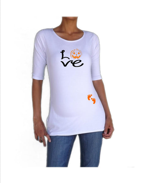 "Halloween "" Love"" with jack-o-lantern design tee/shirt- Pregnancy clothes"