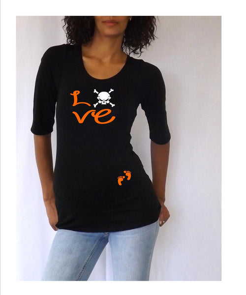 "Halloween "" Love"" with a Skull design tee/shirt- Pregnancy clothes"