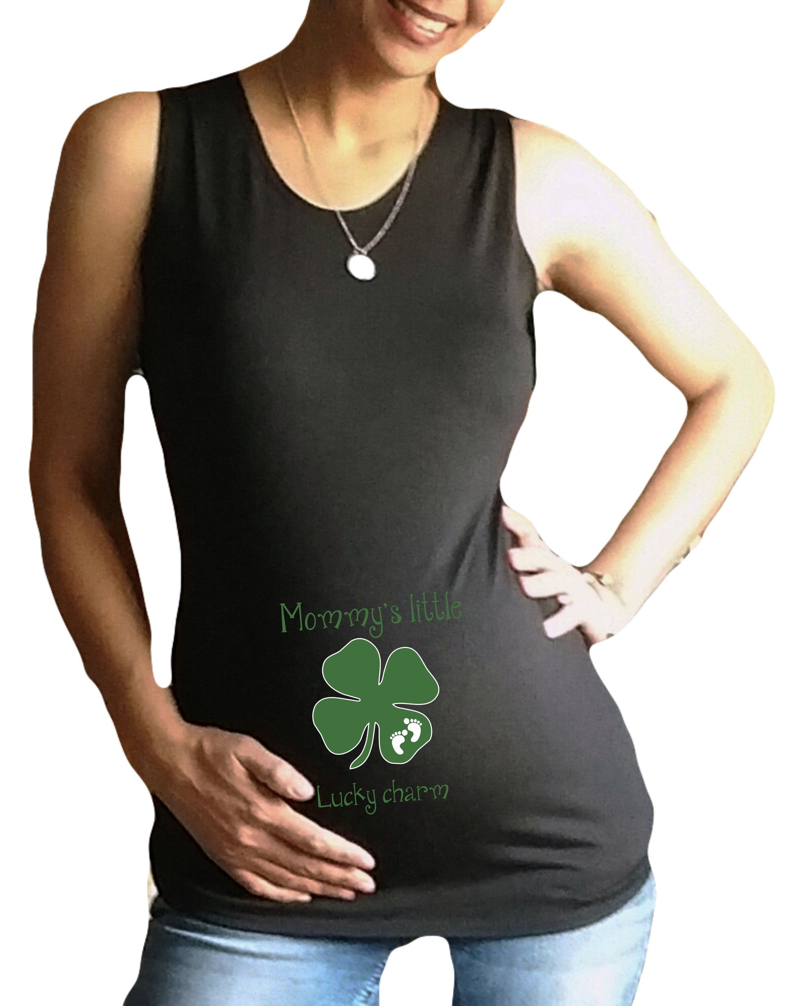"Maternity ""Mommy's Little Lucky Charm "" Tank..."