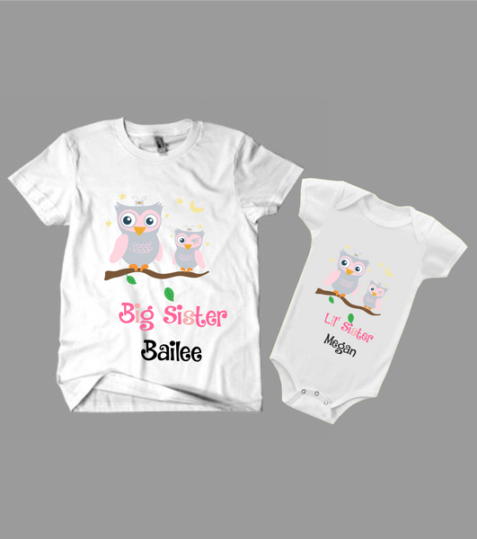 Big Sister, Lil' sister shirts set- Personalized- owl design -Kid's Clothing