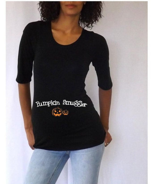 "Halloween ""Pumpkin Smuggler"" Maternity tee/shirt- Holiday wear"