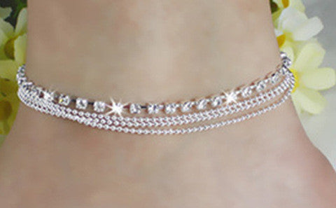 BEACH WEAR - Crystal Silver Plated Anklets