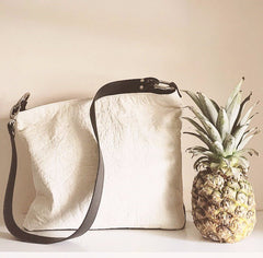 pinatex pineapple leather handbag in white