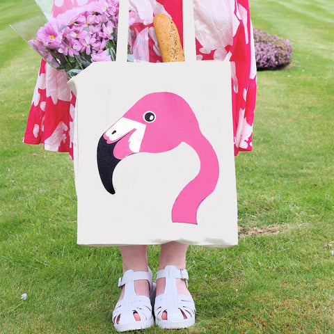 Pink flamingo silkscreen tote bag