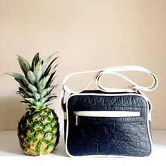 Black pineapple leather handbag unisex for men women