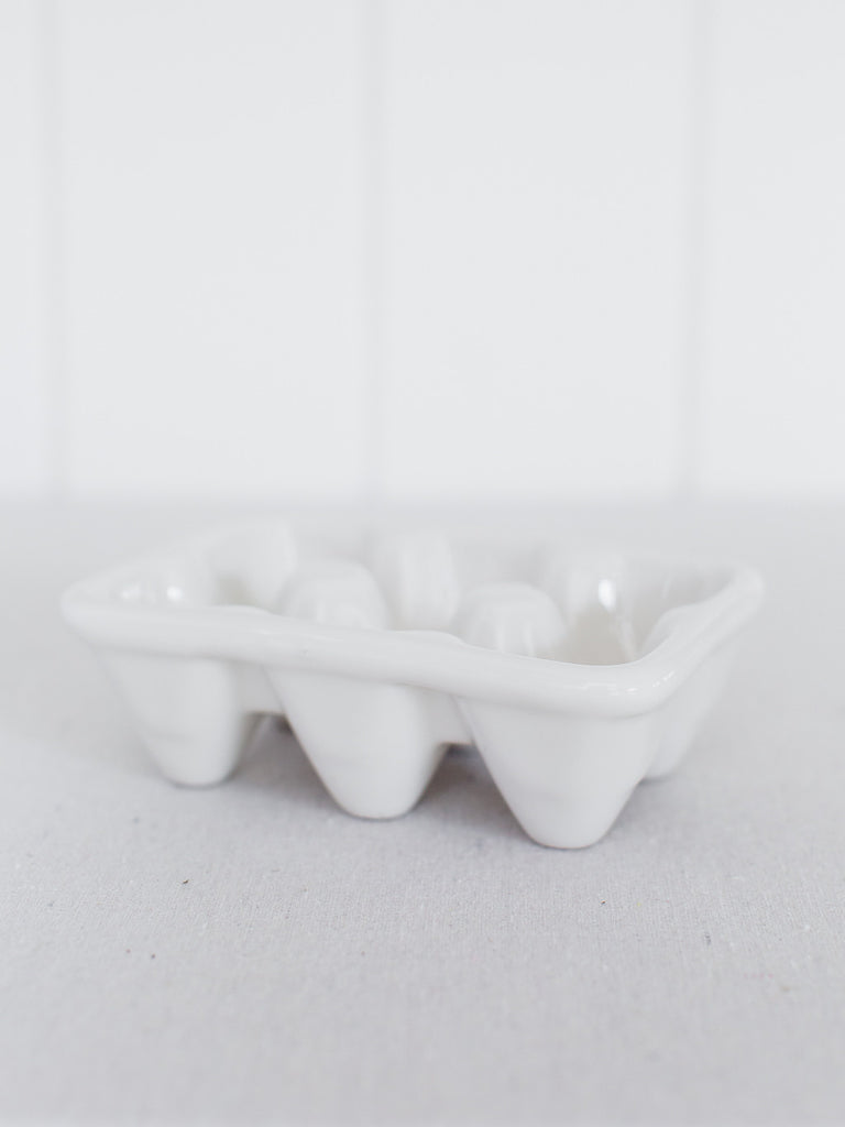 French White Stoneware Egg Crate