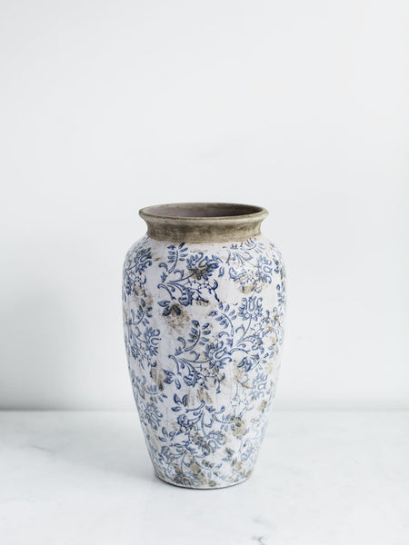 Distressed Terra Cotta Floral Vase