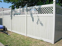 khaki vinyl privacy fence panel with lattice top