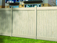 multi-grain tan vinyl privacy fence panel